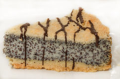 German poppy seed cake on white plate Stock Photo