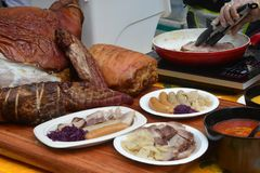 German Pork Hock and Sausage. Note select focus with shallow depth of field stock photography