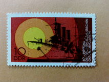 German post stamps. Ilustration red yellow vintage Royalty Free Stock Photo