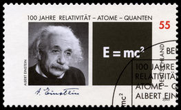 German Postage Stamp with Portrait of Albert Einstein Stock Image