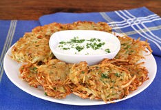 German Potato Pancakes and Sour Cream Royalty Free Stock Images