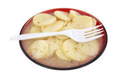German potato salad on plate with fork Royalty Free Stock Image