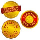 German Premium Quality Seals. Vector Set of Golden Premium Quality Seals in German Stock Photo