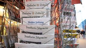 German press about Donald Trump election as President in USA. PARIS, FRANCE - NOV 10, 2016: German press with shocking headline title at press kiosk about the US stock video
