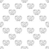 German pretzels seamless pattern on white background. Stock Photography