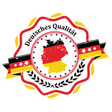 German Quality - sticker / label. With German flag and map on the background. Print colors used Stock Images