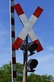 German railway signal. Warning signal and barrier at railway Stock Photo