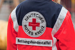 German Red Cross. Safety Day in Germany. Rescue dogs Royalty Free Stock Photos