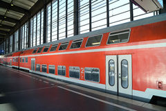 Double-decker Train. German red double decker train at station in Berlin Stock Image