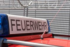 German red fire brigade car Stock Image