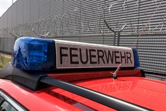 German red fire brigade car Stock Photography