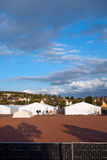 German Refugee Camp. July 29, 2015 - Marburg, Germany: Refugee tent camp at the football grounds of Cappel district in Marburg an der Lahn royalty free stock photos