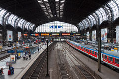 German regional express train from Deutsche Bahn, arrives at hamburg train station in june 2014 Royalty Free Stock Photography