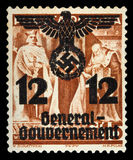 GERMAN REICH. Circa 1939 - c.1944: General Goudernement. A postage stamp with portraying of nazi symbols. Stock Image