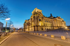 The german Reichstag in Berlin before sunrise Royalty Free Stock Image