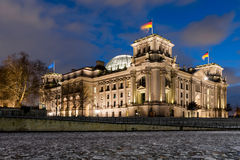 German Reichstag by Night Royalty Free Stock Images