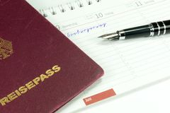A German Reissepass and naturalization in Germany stock image