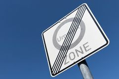 End of a low-emission zone. German road sign: end of a low-emission zone Royalty Free Stock Images