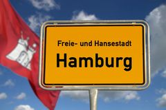 German road sign Hamburg Stock Photography