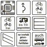 German road sign - instructions for left turn Royalty Free Stock Photos