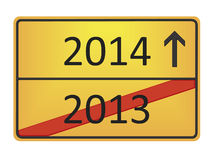 2013 - 2014. A german road sign with the numbers 2013 and 2014 stock illustration