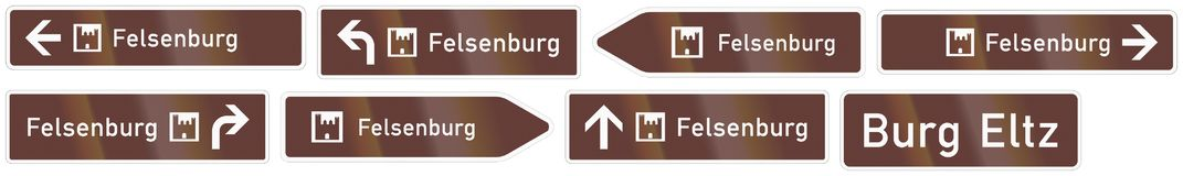 German road sign about a place of interest - Felsenburg - Rock c Royalty Free Stock Image