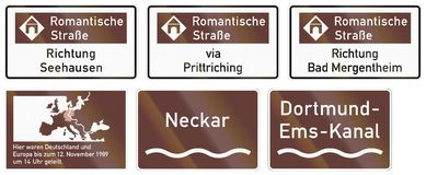 German road sign about the Romantic Road with Direction Seehausen Stock Photos