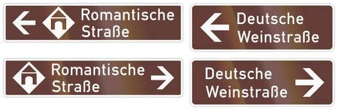 German road sign about the Romantic Road Royalty Free Stock Images