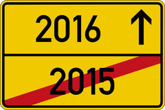 2015 and 2016. German road sign with the years 2015 and 2016 vector illustration