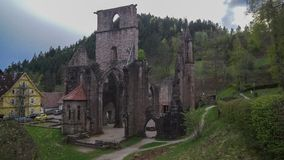 Ruins of old monastery in black forest stock photography