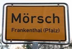 German roadsign in Frankenthal Pfalz stock photos
