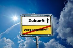 German roadsign of Future and Past stock images