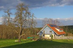 German rural landscape with wooden house near Black Forest Baden Wuertemberg, Schoemberg in Germany Stock Image