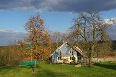 German rural landscape with wooden house near Black Forest Baden Wuertemberg, Schoemberg in Germany Stock Images