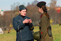 German and Russian women-reenactors Stock Photography