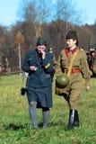 German and Russian women-reenactors Stock Images