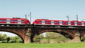 German S-Bahn. A German S-Bahn crosses a railway bridge between Mainz and Ginsheim stock footage