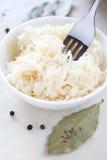 German sauerkraut with fork. Cooked german sauerkraut with fork and ingredients Stock Image