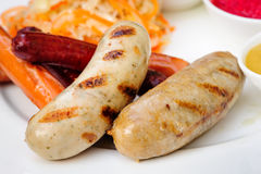 German sausage with cabbage and sauces Stock Photo
