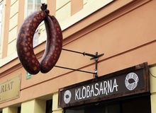 German sausage fast foot restaurant sign, Ljubljana Stock Image