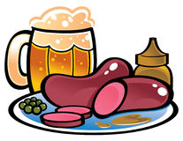 German Sausages. On plate with glass of Beer Royalty Free Stock Photo