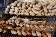 German sausages on bbq Royalty Free Stock Photography