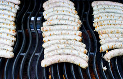 German sausages on grill Royalty Free Stock Image