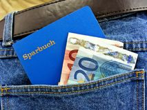 German savings bank book in pocket Royalty Free Stock Photos