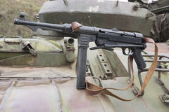 German Schmeisser submachine gun on the armor of the tank Royalty Free Stock Photography