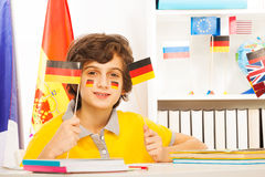 German schoolboy holding flags in his hands Stock Photography