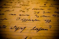 German Script. A closeup view of an ancient German handwritten script Royalty Free Stock Image