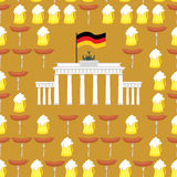 German seamless ornament. Symbols of Germany: beer and sausages. Royalty Free Stock Image