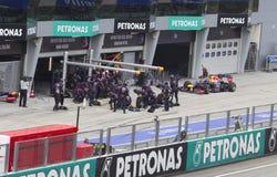 Sebastian Vettel pits for tyres Royalty Free Stock Photography