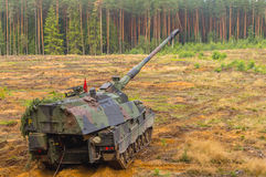 German self-propelled howitzer on battlefield Stock Photography